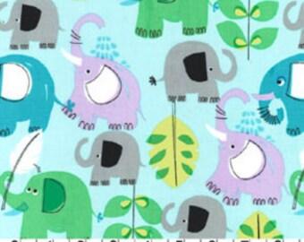 FQ Michael Miller Pachyderm shower elephant blue cotton fabric