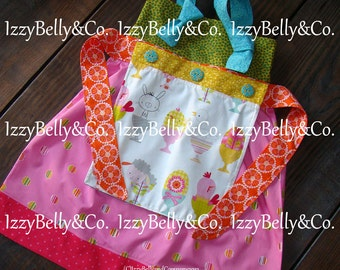 Girls Reversible Lily Apron Knot Dress by IzzyBelly&Co. Sizes... 2t ~ 6 Handmade in the USA