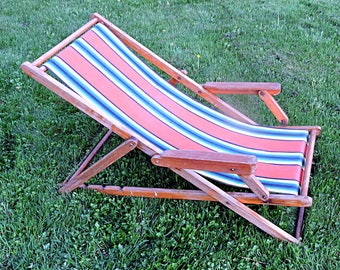 Beach Lounger Lawn Lounge Chair Canvas And Wood Cottage Sling Back Campfire  Chair