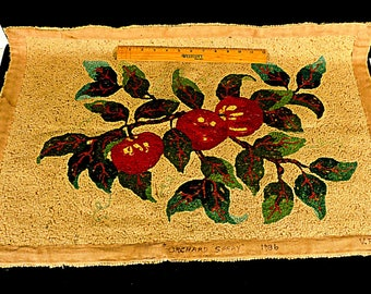 Vintage Hand Hooked Throw Rug Red Brown Green Tan Rectangle Floral Farmhouse Décor