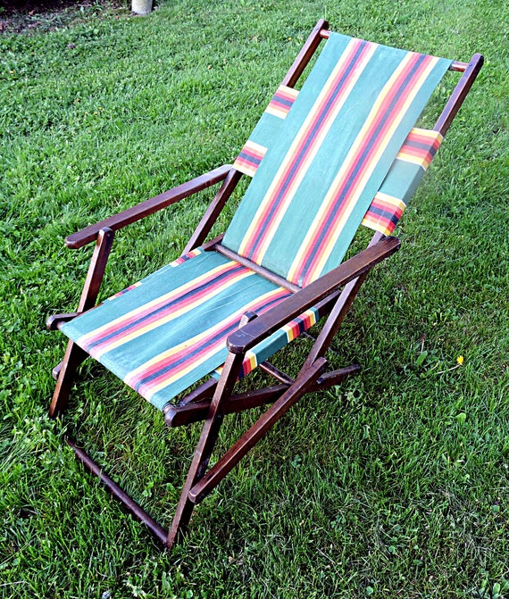 Superb Beach Lounge Chair Canvas And Wood Lawn Lounger Cottage Slingback Campfire Chair Inzonedesignstudio Interior Chair Design Inzonedesignstudiocom