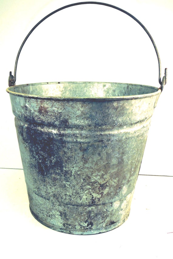 Galvanized Pail Bucket Vintage Rustic Farmhouse Garden Tool | Etsy