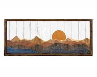 Sunrise Wood Wall Art, Wall Art Long sunrise Wood Wall Decor Bedroom Wall hanging wood frame wall art ,Above Bed Decor Wooden, largewall art