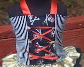 Girls Pirate Princess fabric tutu costume Red Black White Gold
