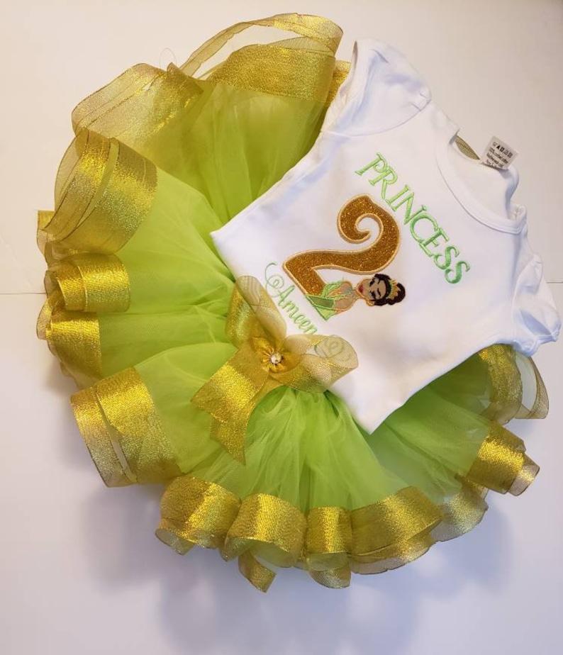 Princess Tiana Birthday Outfit Ribbon trim tutu Embroidered Shirt