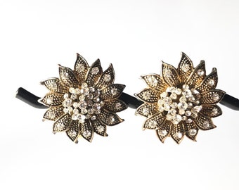 Rhinestone Adorned Clip Earrings from the 70's