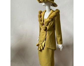 Midnight Velvet Womens 4 Piece Skirt Suit Green Long Sleeve Embellished Button 6