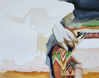 """Southwest Series """" Mystical Journey. Ghost Spirit Rising"""" one of a kind original watercolor."""