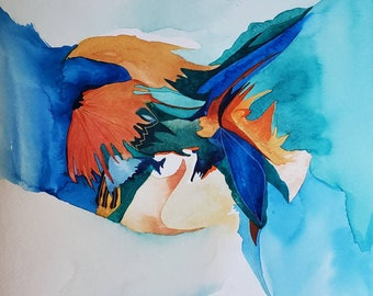 """Feather Song Series """" Ode to a Mandarin Duck """" one of a kind original watercolor."""