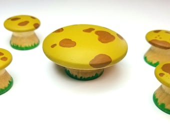 Yellow and Brown Mushrooms, Table and Chair Toadstool Set, Waldorf Wooden mushrooms, Faerie Fairy Garden Accessories, Waldorf Nature Table