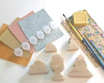 Woodworking Craft Kit Trees and shrubs, Waldorf Inspired Wooden Toy, Do It Yourself DIY Wooden Tree, Craft Kit for Kids and Adults