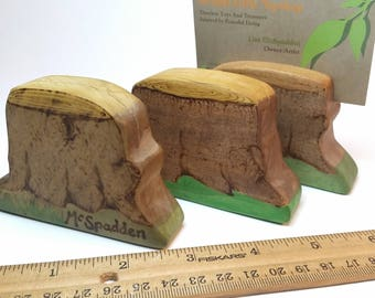Tree Stump Post Card Holder, Build Your Calendar for Nature Table Home Display, Wooden Waldorf Education Daily Calendar, Display Stand