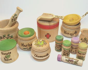 The Original Apothecary Play Set // Natural Health Healing Kit // Play Herbalist // Essential Oil // Waldorf Natural Health Toy