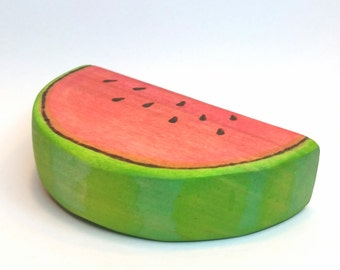 Wooden Watermelon Slice Play Food, Waldorf Inspired Wooden Toy Produce Natural Play Kitchen, Natural Waldorf Gift // Garden