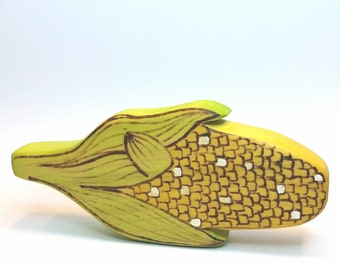 Wooden Corn Cob Play Food, Waldorf Inspired Wooden Toy Produce for the Natural Play Kitchen, Play Food, Waldorf Toy Kitchen