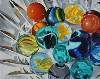 """Marble Collection - 12"""" x 12"""" Contemporary Realism Original Acrylic Painting on Canvas"""