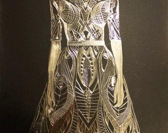 Alexander McQueen Dress - Original Etched gold foil scratchboard
