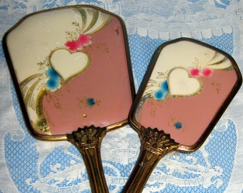 Vintage Brush and Mirror Set, Gold Colored Metal Frames and Handles, Plastic Covered Inserts with Heart and Flowers, Gold, Pinks, and Blue