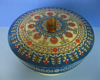 Round Blue Tin, Footed with Multicolored Lid, Made in England