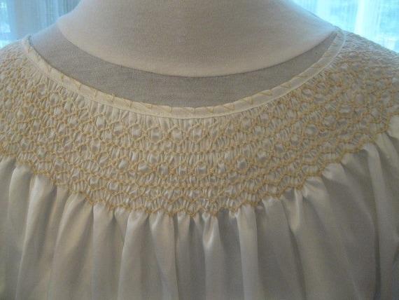 Hungarian White Satin, White Embroidery, Smocked … - image 3