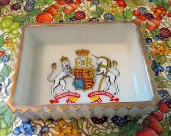 Coronation of Queen Elizabeth, 1953, Milk Glass Souvenir Tray/Dish, Gold Trim
