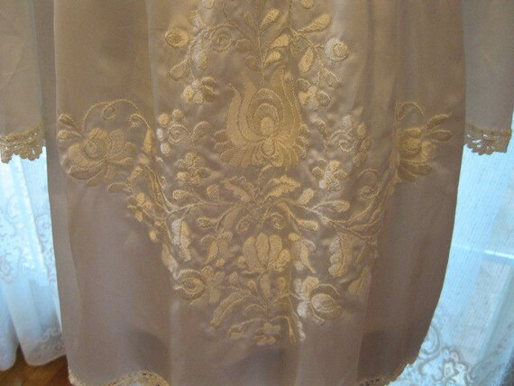 Hungarian White Satin, White Embroidery, Smocked … - image 4