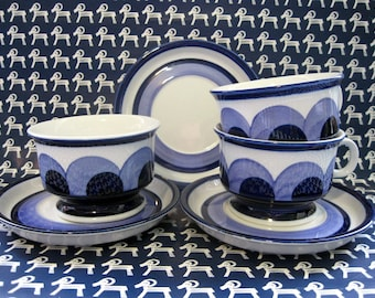 Arabia Finland Puja Three Blue White Cups and Saucers, Anja Jaatinen-Winquist Designer, Rare, 1969 - 1973