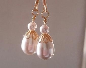 Vegan Swarovski Pearl Drop Earrings Gold-Plated Cruelty-Free
