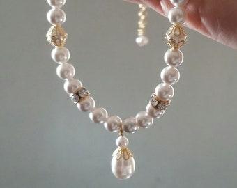 Vegan Classic Wedding Bridal Necklace Swarovski Pearls Gold-Plated White Drop Pendant
