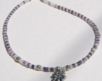 Purple Amethyst Flower Power Heishi Choker Necklace