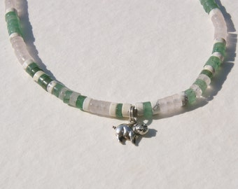 Green and Pink Pig Heishe Choker Sterling Silver Charm Necklace