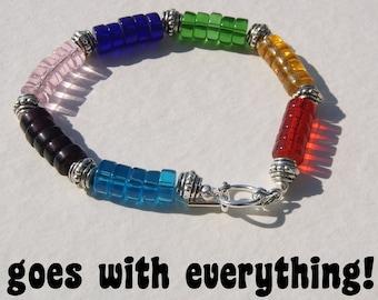 Rainbow Glass Beads Heishe Bracelet Chunky Red Blue Yellow Green Pink