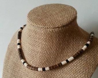 Brown White and Black Coconut Heishe Choker Necklace Heishi Surf or Beach Wear Vegan