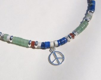 Sterling Silver Peace Charm with Red Green Blue Lapis Heishi Choker Necklace