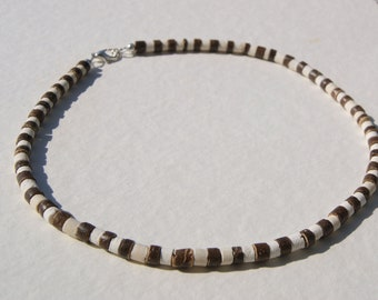 Brown and White Coconut Heishe Choker Beachwear Necklace Tropical Surfwear