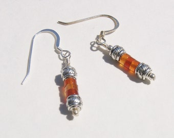 Fire Colored Red Agate Heishe Earrings with Silver Earwires