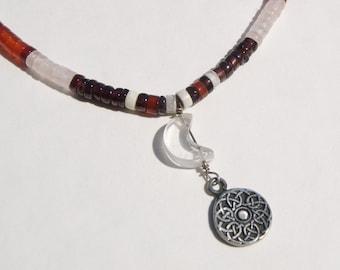 Moon Celtic Knot Mandala Heishi Choker Necklace Carnelian and Garnet Gemstones