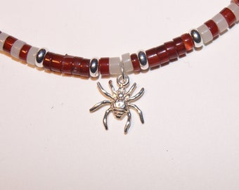 Spider Love Heishi Choker Necklace Red and White Silver Arachnophilia