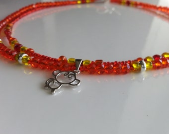 Fire Monkey Chinese New Year Red Orange Necklace Choker Silver Charm Toggle Clasp Glass Beads 2016