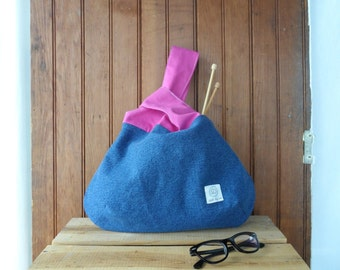 Knot Bag - recycled fabric knitter pouch small project bag gift for knitters yarn bag