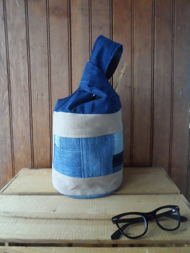Knot bag recycled denim knitting tote pouch patchwork design
