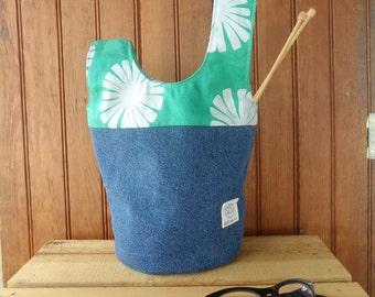 Knot bag - sea foam green recycled denim zip pouch round bottom