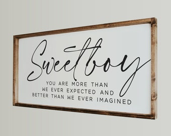 Sweet Boy Framed Wood Nursery Sign, Boy Nursery, Above The Crib Sign, Rustic Sign, Boy's Room Decor, Bedroom Sign, Baby Shower Gift, Boy Mom