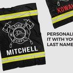 Personalized Firefighter Sherpa Fleece Throw Blanket, Firefighter Home Decor, Fireman Bedding, Custom Fire Gift, Firefighter Gift Idea