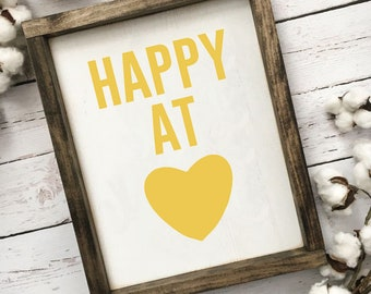 Happy At Heart, Farmhouse Sign, Yellow Decor, Modern Farmhouse, Nursery Art, Quote Art, Kids Room Decor, Happiness, Modern, Inspirational