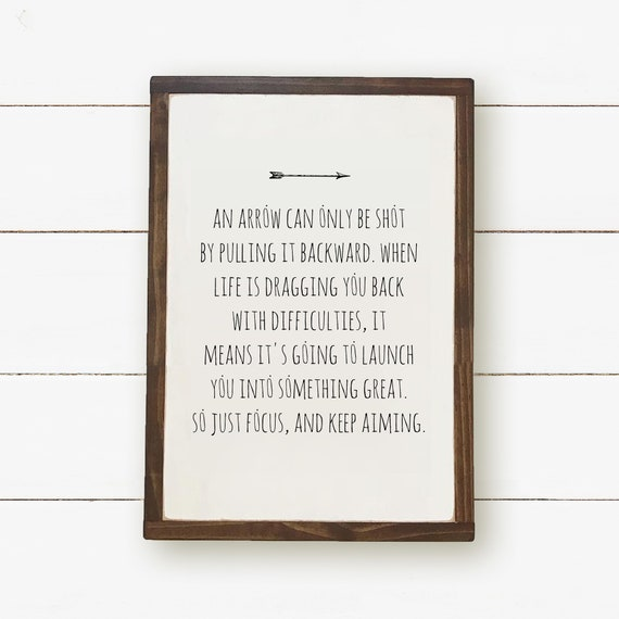 An Arrow Can Only Be Shot 60x60 Typography Print Focus Etsy Magnificent Arrow Quotes Life