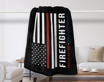 Fireman Blanket, Firefighter Throw Blanket, Firefighter Gift, Fireman Gift, Fire Department, Fireman Quote, Firefighter Quote, Thin Red Line