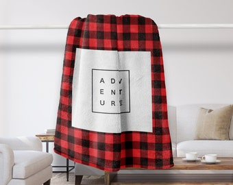 Modern Plaid Blanket, Adventure, Cottage Decor, Farmhouse, Cozy, Throw Blanket, Living Room Decor, Lumberjack, Cabin Decor, Home Decor, Red