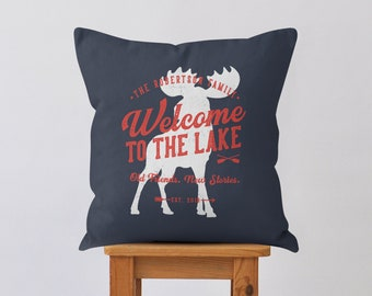 Welcome To The Lake Pillow, Cottage Decor, Personalized Pillow, Family Pillow, Lake Life, Moose, Cabin Decor, Custom Pillow, Throw Pillow