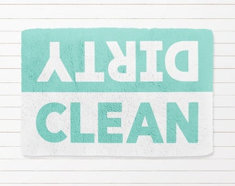 Clean Dirty Bath Mat, Bathroom Mat, Bath Mat, Teen Bath, Farmhouse Bath, Ocean Decor, Spa, Yoga, Mint, Kids Bath, Saying, Fun, Gag Gift